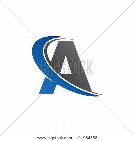 A blue swoosh logo