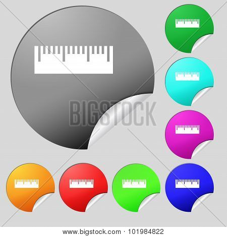 Ruler Sign Icon. School Tool Symbol. Set Of Eight Multi Colored Round Buttons, Stickers. Vector
