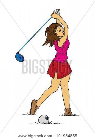 vector - women long hair -  golf player - isolated on background