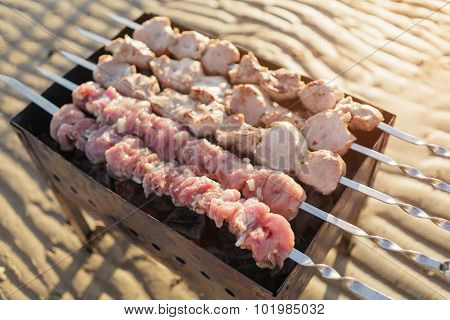 preparing shashlik on the beach