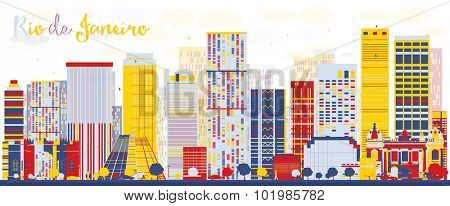 Abstract Rio de Janeiro skyline with color buildings. Vector illustration