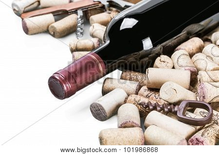Wine And Corks Isolated