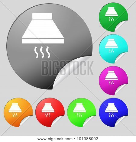 Kitchen Hood Icon Sign. Set Of Eight Multi Colored Round Buttons, Stickers. Vector