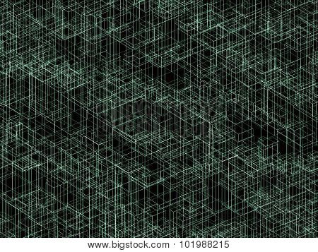 Dackground Texture With Green 3D Wireframe Lines