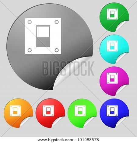 Power Switch Icon Sign. Set Of Eight Multi Colored Round Buttons, Stickers. Vector