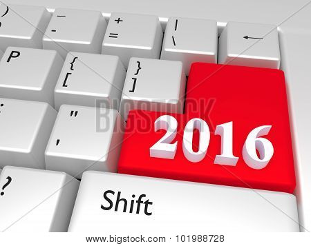 2016 New Year Over Enter Key