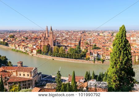 VERONA, ITALY - SEPTEMBER 2014 : View of Verona skyline, Church of Santa Anastasia, the Lamberti Tower, River Adige in Verona, Italy on September 14, 2014. Photo is taken from Castell San Pietro
