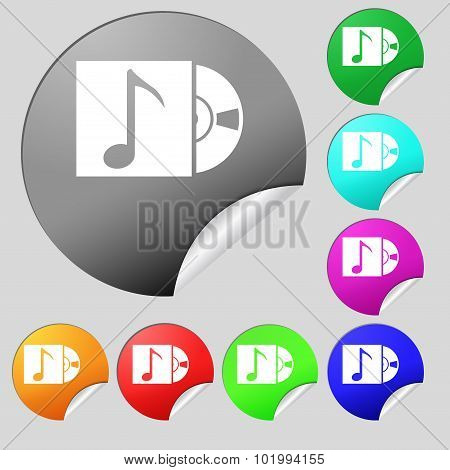 Cd Player Icon Sign. Set Of Eight Multi Colored Round Buttons, Stickers. Vector