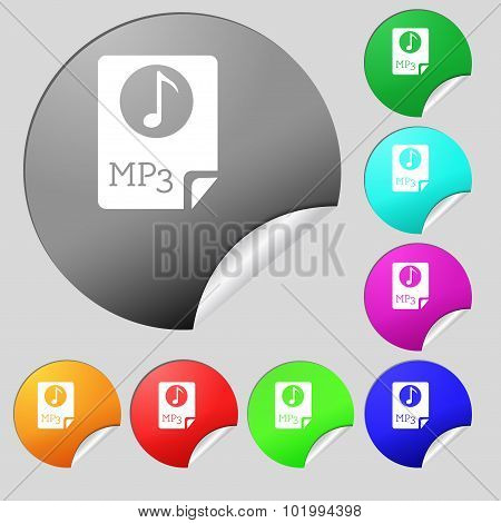 Audio, Mp3 File Icon Sign. Set Of Eight Multi Colored Round Buttons, Stickers. Vector