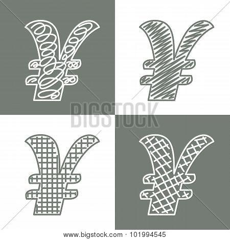 Set of hand drawn dollars