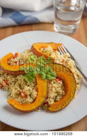 Healthy quinoa salad with grilled pumpkin