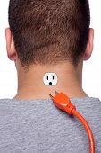 foto of low-necked  - Conceptual image of a young man with an electrical socket on the back of his neck with the power plug disconnected - JPG
