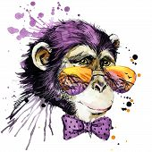 Постер, плакат: Cool monkey chimpanzee T shirt graphics monkey illustration with splash watercolor textured backgro