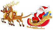image of sleigh ride  - Vector illustration of Santa riding his sleigh - JPG