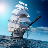 stock photo of historical ship  - Sailing ship in the vast ocean with small waves is getting all the sails filled with sea breeze - JPG