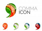Set of abstract comma icon, business logotype concepts, clean modern geometric design. Created with  poster