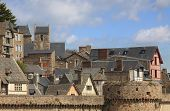 picture of mont saint michel  - Details of the roofs and houses from the village under the monastry on the Mountain Saint Michel - JPG
