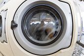 foto of oversize load  - A commercial washing machine in a spin cycle - JPG