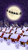 stock photo of christmas eve  - raster illustration depicting the night before christmas  - JPG