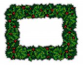 foto of christmas wreath  - raster illustration depicting a rectangular christmas wreath - JPG