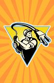 pic of lineman  - wpa retro style illustration of a Power lineman or electrician worker with an electric cord lasso set inside rectangle with sunburst - JPG