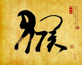 picture of chinese calligraphy  - 2016 is year of the monkey - JPG