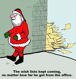 pic of letters to santa claus  - Christmas cartoon showing Santa Claus walking and letters following him - JPG