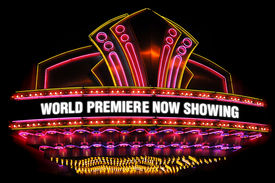 picture of matinee  - electric neon movie marquee on black background - JPG