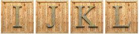 picture of letter j  - Group of wooden letters I J K L  framed - JPG