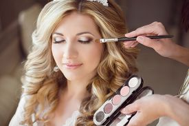 picture of beauty salon interior  - Beautiful bride girl with wedding makeup and hairstyle - JPG