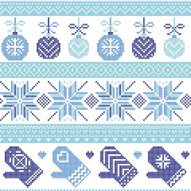 foto of stitches  - Scandinavian Nordic seamless Christmas pattern with Xmas baubles - JPG