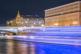 picture of historical ship  - Ship lights and historical buildings in the city center by Moscow river - JPG
