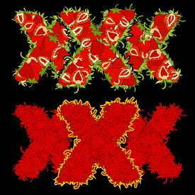 foto of x-rated  - XXX letters made of ripe strawberries - JPG