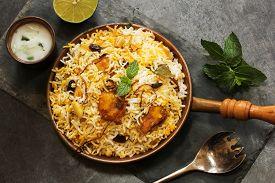 image of raita  - Fish Biryani with raita made with basmati rice - JPG