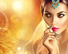 stock photo of hindu  - Beautiful Indian woman portrait - JPG