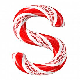 stock photo of desert christmas  - Mint hard candy cane 3d alphabet collection striped in Christmas colours - JPG