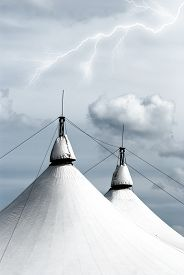 picture of circus tent  - circus tent under blue sky in summer - JPG