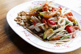pic of cuttlefish  - spicy papaya salad with shrimp cuttlefish and sea mussel - JPG