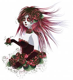 picture of day dead skull  - Vintage sugar skull girl with roses for Day of the Dead  - JPG