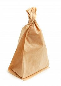 stock photo of grease  - Crumpled paper bag with grease spots isolated on white - JPG