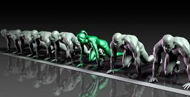 stock photo of competing  - Lone Female Competing Against Males in a Race - JPG