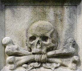 picture of skull cross bones  - Skull and crossbones crossed detail architecture cemetery - JPG