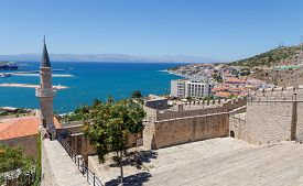 foto of promontory  - Cesme is a coastal town and the administrative centre of the district of the same name in Turkey - JPG