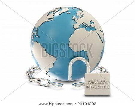 Earth, chain and opened padlock with access granted text