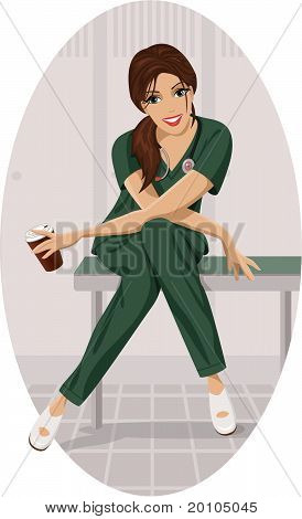 Nurse with a cup of coffee.