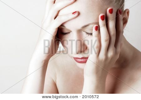 Beautiful Young Woman With Headache