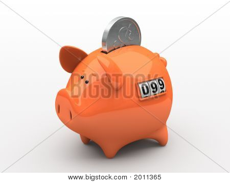 Orange Piggy Bank - Counter On White Background