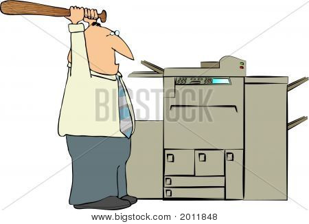 Man Beating A Copy Machine