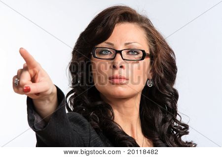 Woman Pointing Forward