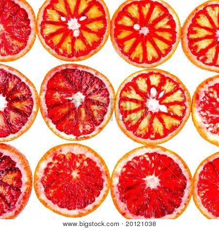 Rows Of Sliced Blood Orange